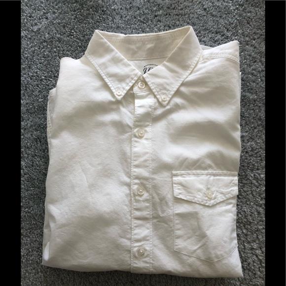 JCrew White Lightweight Oxford Short Sleeve Shirt